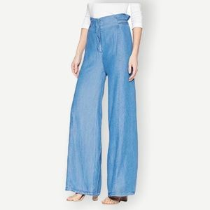 Bishop + Young NWT Sz L D-Ring Wide Pants Chambray